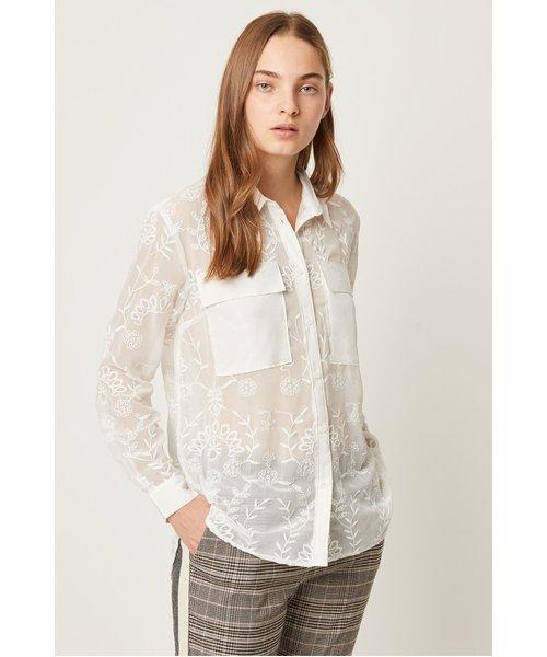 Cornelia Lace Embroidered Shirt - winter white