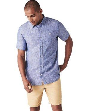Crew Clothing Mens Short Sleeve Linen Shirt Deep Cobalt XXL