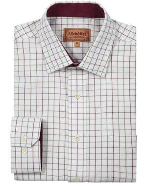 Schoffel Mens Burnham Tattersall Shirt Ruby Check 16 Inch