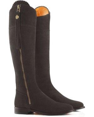 Fairfax & Favor Womens Flat Regina Boots Chocolate Suede 5 (EU38)