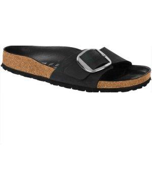 Birkenstock Womens Madrid Big Buckle Oiled Leather Sandals Black UK7.5 (EU41)