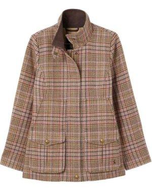 Joules Womens Fieldcoat Tweed Coat Pink Tweed 14