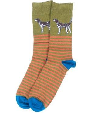 Barbour Mens Dog Stripe Socks Olive/Blue Medium