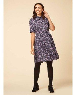 Martha Purple Dinosaur Print Shirt Dress - Vintage Style