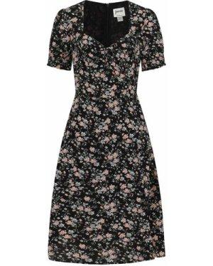 Florrie Dark Floral Ditsy Print Midi Tea Dress - Vintage Style