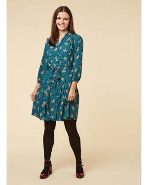 Barbara Fawn Print Button-Through Shirt Dress - Vintage Style