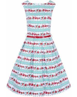 Betty 1950s Floral Stripe Dress - Vintage Style