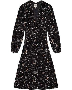 Babs Celestial Star & Moon Print Midi Dress - Vintage Style
