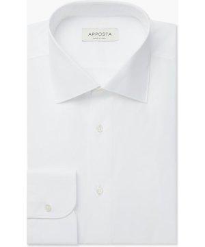 Shirt  solid  white 100% pure cotton poplin giza 87, collar style  semi-spread collar