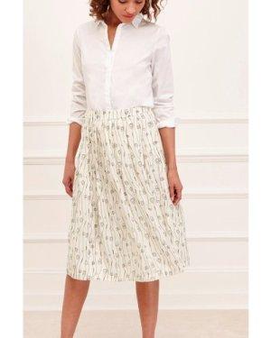 Doodle Stripe Pleated Skirt