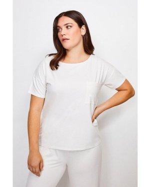 Karen Millen Curve Lounge Viscose Jersey T Shirt -, Ivory