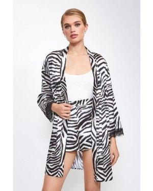 Karen Millen Satin Animal Print Kimono Wrap -, Zebra