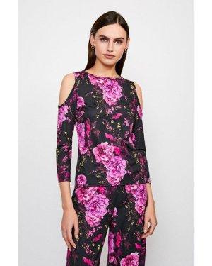 Karen Millen Jersey Cold Shoulder Lounge Top -, Floral