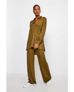 Karen Millen Lyocell Super Soft Lounge Shirt -, Khaki/Green