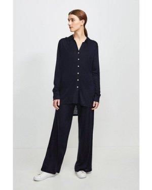Karen Millen Lyocell Super Soft Lounge Shirt -, Navy