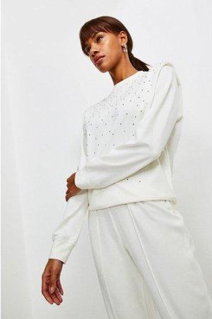 Karen Millen Lounge Diamante Shoulder Pad Jersey Top -, Cream