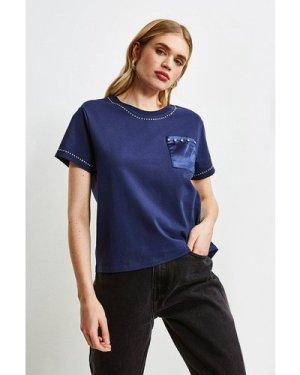 Karen Millen Lounge Diamante Stud Jersey T-Shirt -, Navy