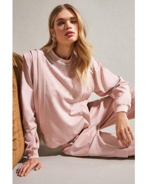 Karen Millen Lounge Diamante Jersey Sweatshirt -, Pink