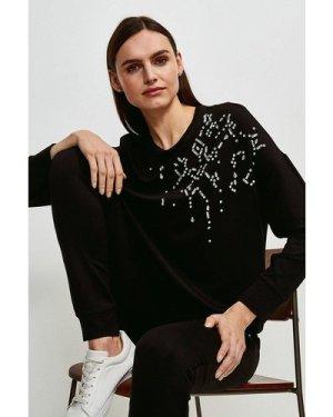 Karen Millen Lounge Diamante Scatter Jersey Sweatshirt -, Black