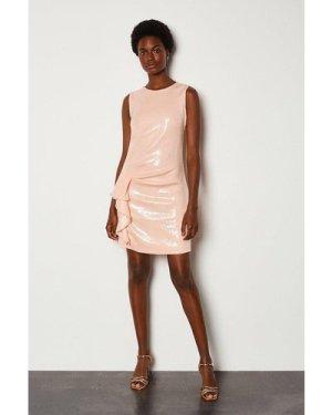 Karen Millen Ruffle Side Sequin Sleeveless Short Dress -, Pink