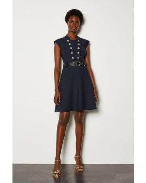 Karen Millen Military Button Belted A Line Dress -, Navy