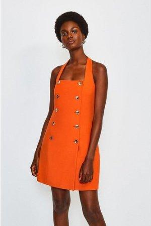 Karen Millen Military Halter Neck Dress -, Orange
