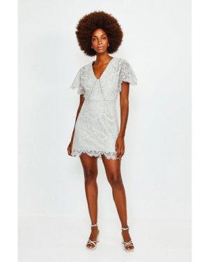 Karen Millen Fluted Sleeve Lace Dress -, Grey