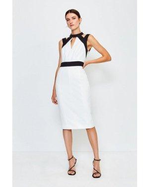 Karen Millen Cut Out Panelled Pencil Dress -, Blackwhite