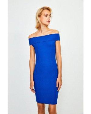 Karen Millen Ponte Bardot Zip Back Dress -, Blue