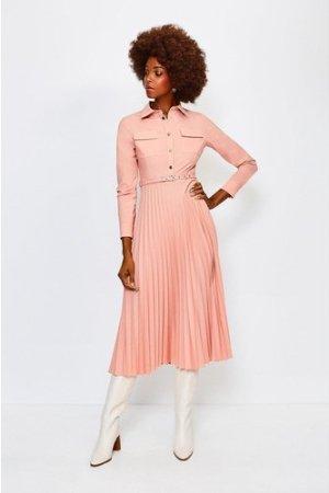 Karen Millen Polished Stretch Wool Blend Shirt Dress -, Orange