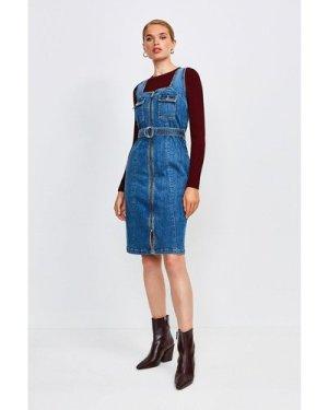 Karen Millen Sleeveless Denim Zip Front Dress -, Indigo