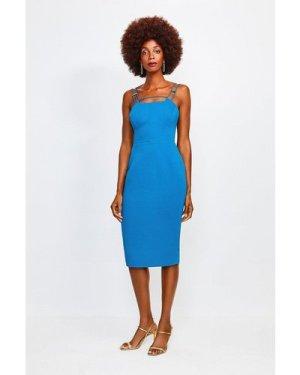 Karen Millen Strap and Bar Sexy Zip Back Dress -, Blue