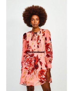 Karen Millen Long Sleeve Floral Print Short Dress -, Navy