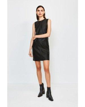 Karen Millen Leather and Ponte Shift Dress -, Black
