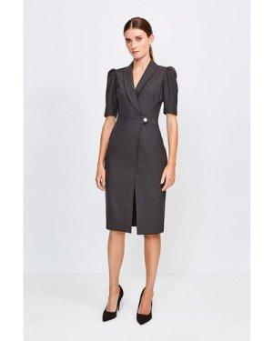 Karen Millen Polished Stretch Wool Blend Tailored Wrap Dress -, Charcoal
