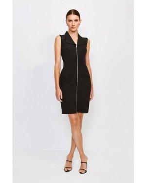 Karen Millen Mesh Shoulder Zip Through Ponte Dress -, Black