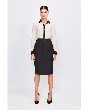 Karen Millen Pinspot High Waist Pencil Skirt -, Black