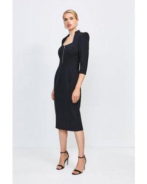 Karen Millen Peplum Zip Pencil Dress -, Black