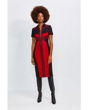 Karen Millen Collared Colour Block Pencil Dress, Multi