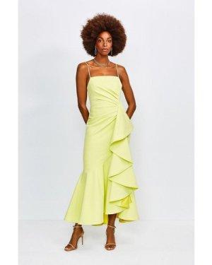 Karen Millen Ruffle Hem Dress -, Green