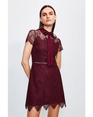 Karen Millen Lace Tie Neck Mini Dress -, Red