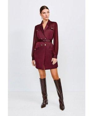 Karen Millen Sheer and Opaque Belted Dress -, Red