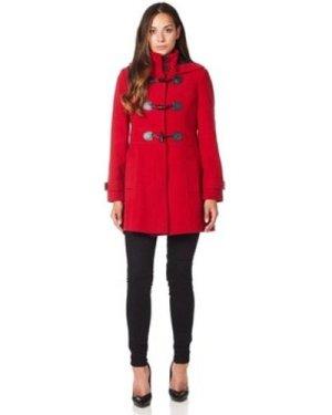 De La Creme  Wool Cashmere Hooded Zip Fastening Winter Coat  women's Coat in Red