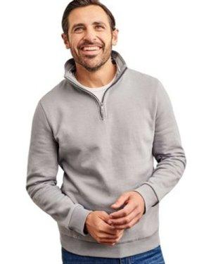 Woolovers  Cotton Half Zip Sweatshirt  men's Sweatshirt in Grey