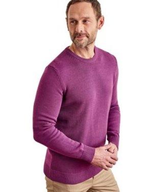 Woolovers  100% Cotton Crew Neck Jumper  men's Sweater in Purple