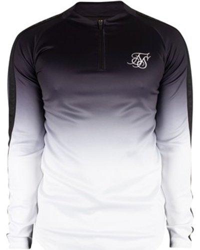 Siksilk  Men's Athlete Half Zip Track Top, Black  men's Tracksuit jacket in Black