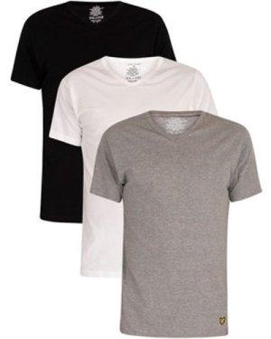 Lyle   Scott  3 Pack Lounge V-Neck T-Shirts  men's T shirt in Multicolour