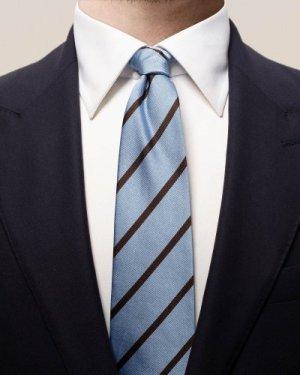 Blue & brown striped silk tie