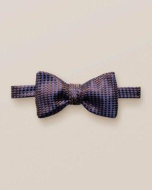 Brown & Blue Silk Bow Tie – Self-Tied