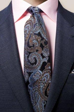 Dark Blue Jacquard Paisley Tie